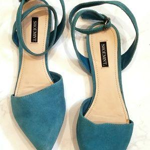 Shoemint aqua suede ankle strap flats
